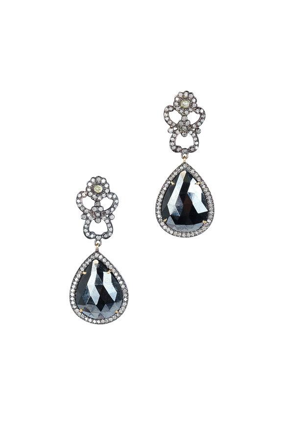 Loren Jewels 14K Gold & Silver Black Spinel & Diamond Earrings