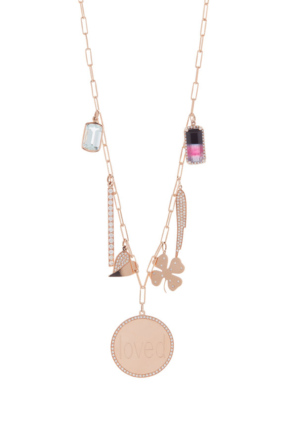 Genevieve Lau Rose Gold Multi Charm Necklace