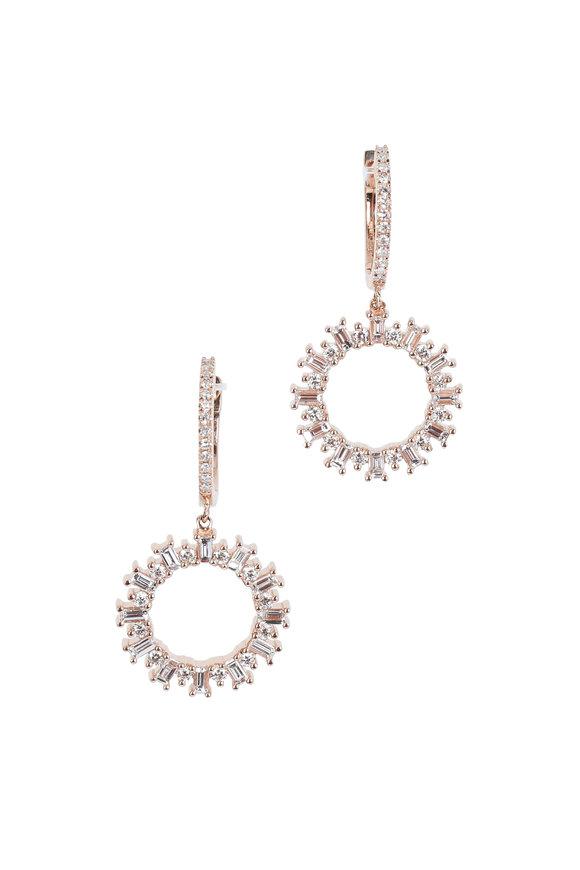 Kai Linz Rose Gold Pavé Diamond Drop Earrings