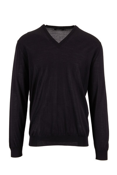 Ermenegildo Zegna - Black Wool V-Neck Sweater