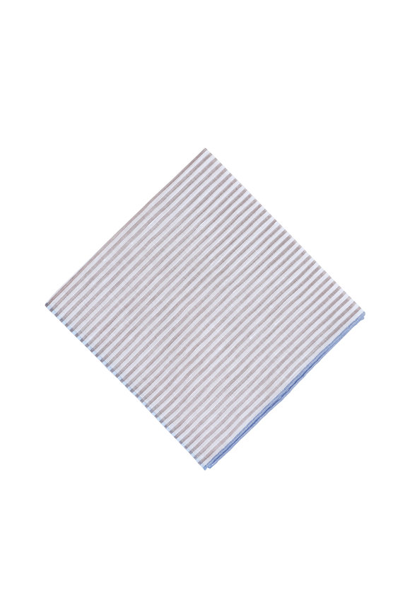 Simonnot-Godard Brown & White Striped Cotton Blend Pocket Square