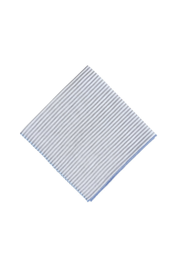 Simonnot-Godard Gray & White Striped Cotton & Linen Pocket Square