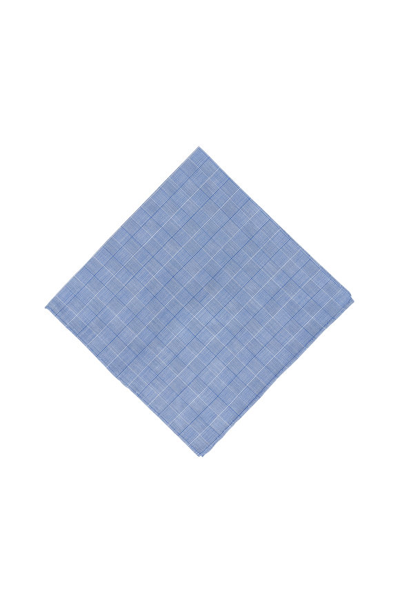 Simonnot-Godard Blue Geometric Pocket Square