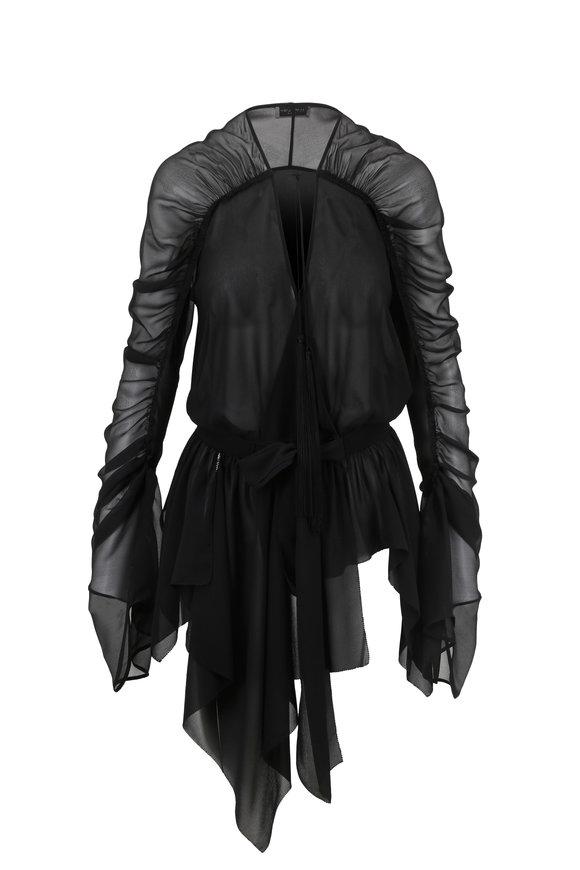 Saint Laurent Black Deep V-Neck Silk Blouse