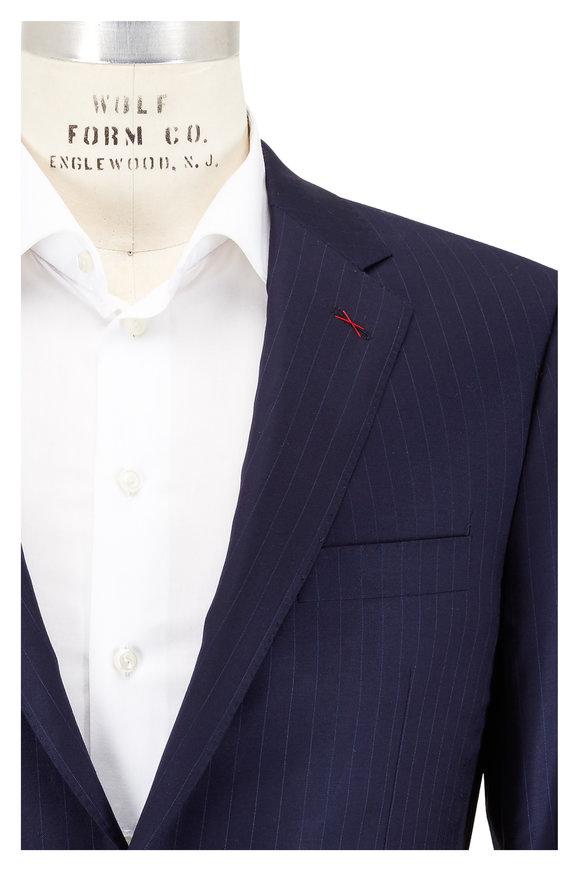 Samuelsohn Navy Blue Pinstriped Wool Suit