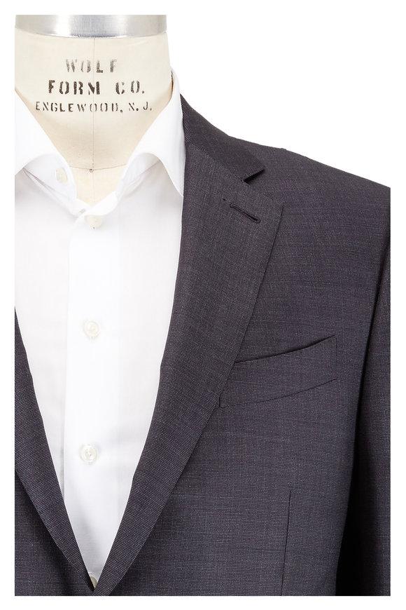 Ermenegildo Zegna Charcoal Gray Micro Tic Weave Wool Suit