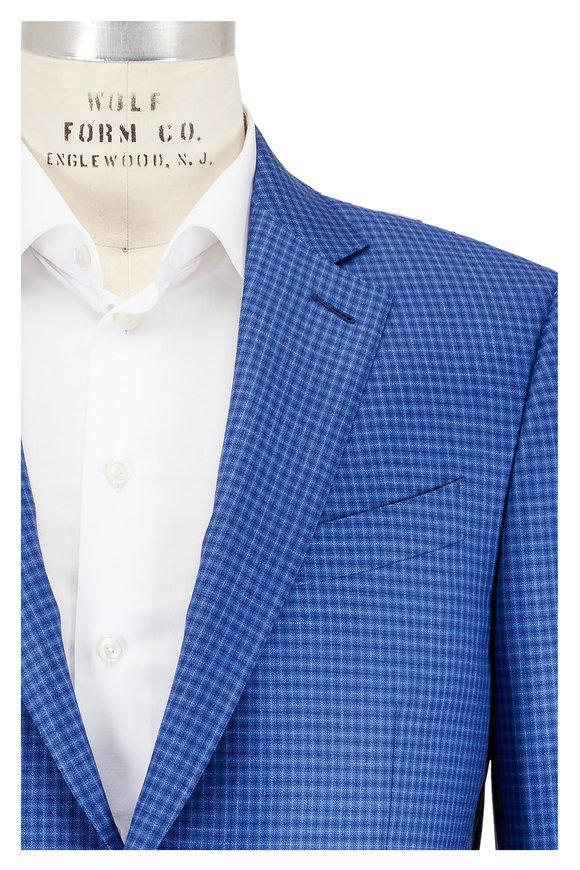 Ermenegildo Zegna Blue Mini Check Wool Sportcoat