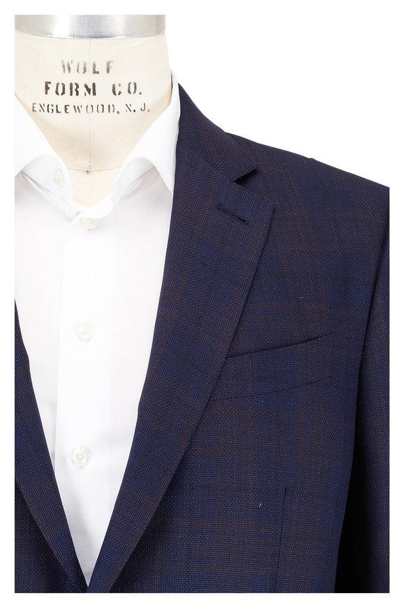 Ermenegildo Zegna Navy Blue Windowpane Wool Sportcoat