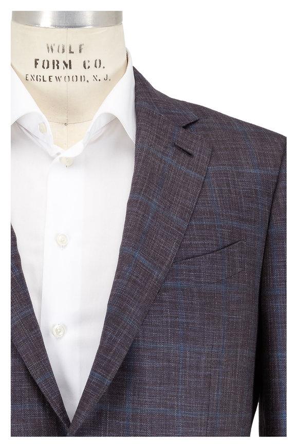 Ermenegildo Zegna Blue & Brown Fancy Plaid Wool & Silk Sportcoat