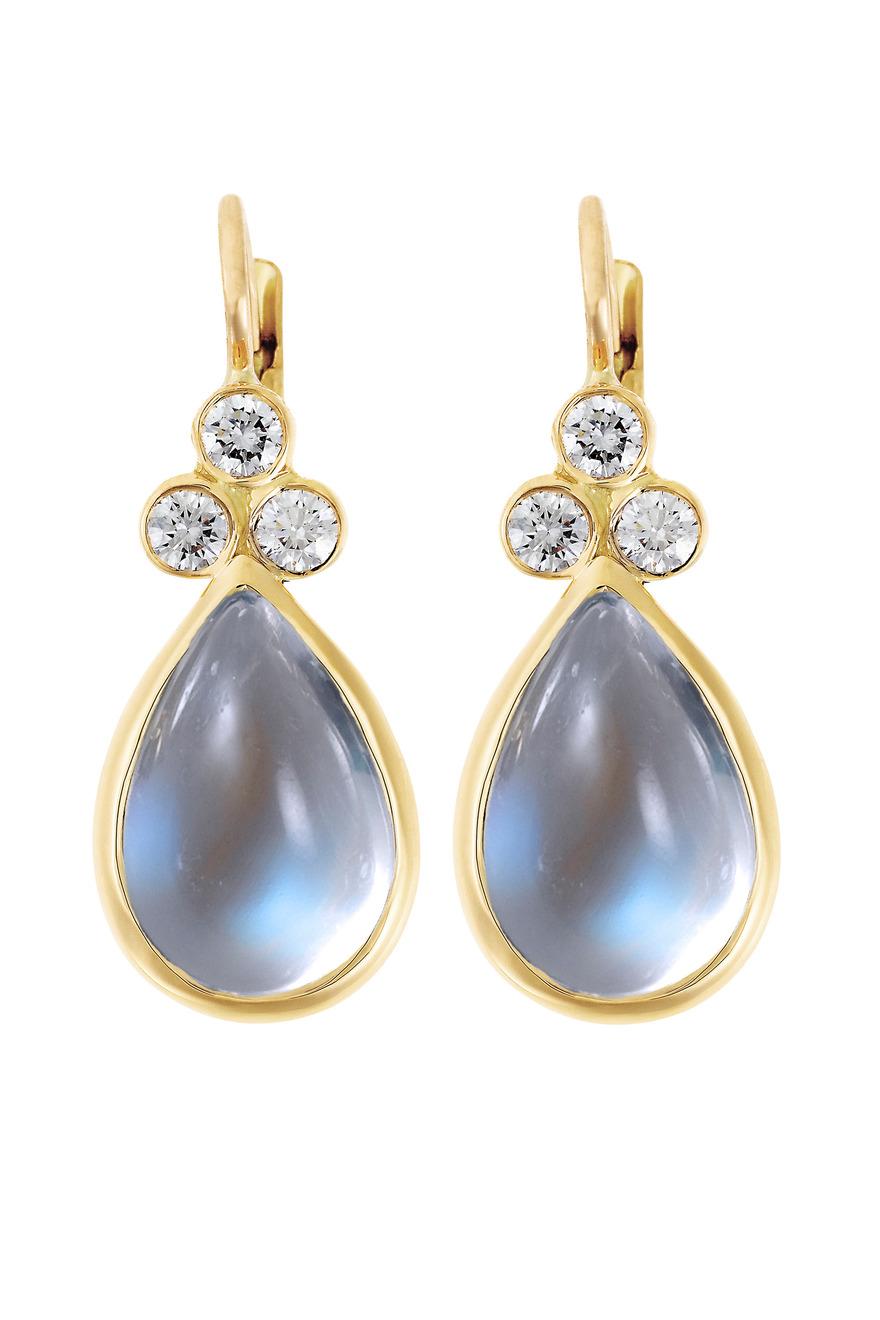 Gold Blue Moonstone Diamond Earrings