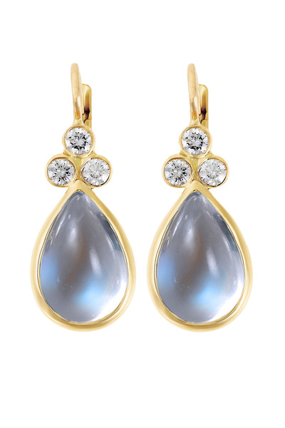 Temple St. Clair - Gold Blue Moonstone Diamond Earrings