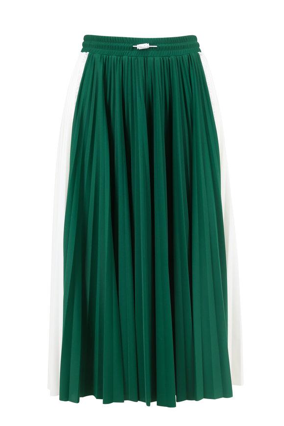 Valentino Green & White Bi-Color Plissé Midi Skirt