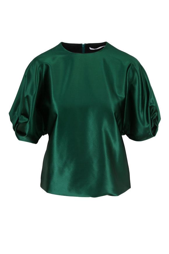 Rosetta Getty Emerald Short Twist Sleeve Top