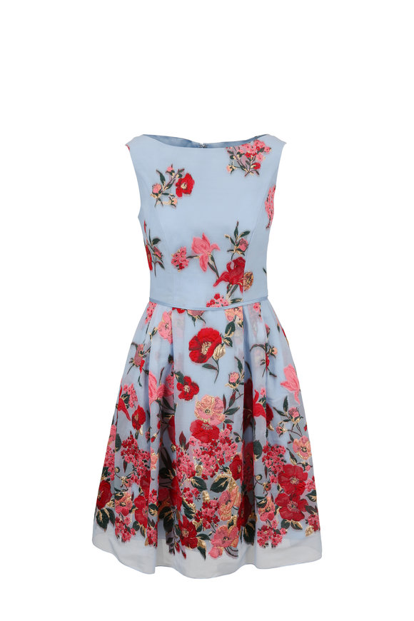 Carolina Herrera Cloud Blue Floral Jacquard Sleeveless Dress