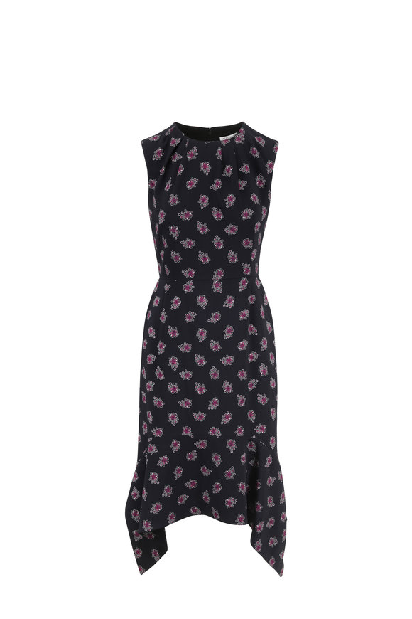 Altuzarra Elvie Black Floral Print Sleeveless Midi Dress