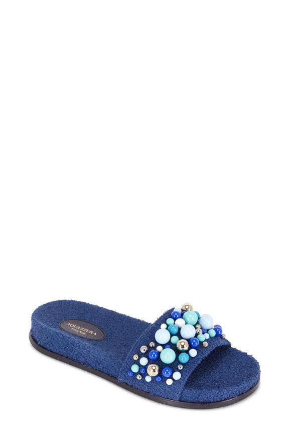 Aquazzura Bon Bon Navy Blue Beaded Slide