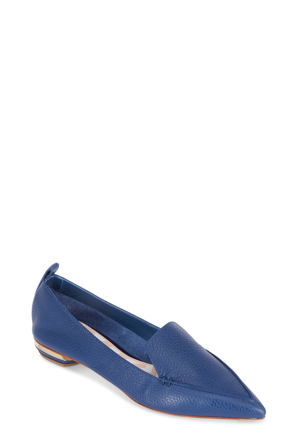 Nicholas Kirkwood Beya Midnight Blue Leather Pointed Flat