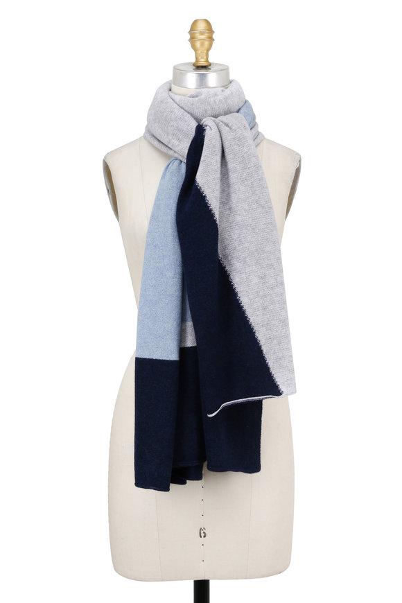 Kinross Driftwood & Blue Fog Cashmere Travel Wrap