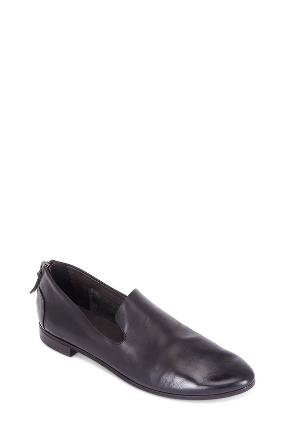 Marsell Black Leather Back-Zip Loafer