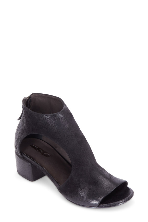 Marsell Black Suede Asymmetric Open-Side Ankle Boot, 50mm