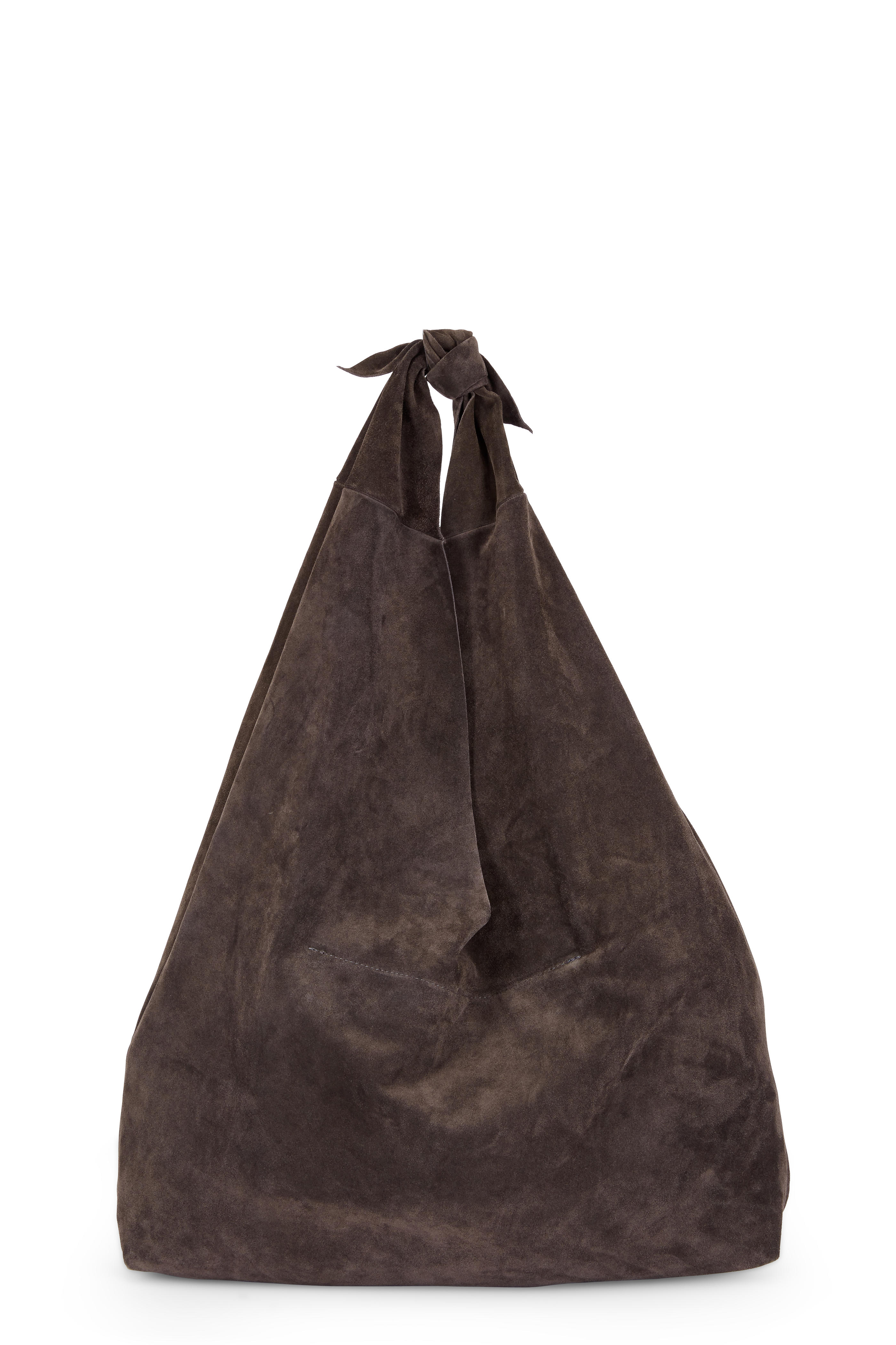 8fbca758cd The Row - Bindle Coal Suede Knotted Large Hobo Bag