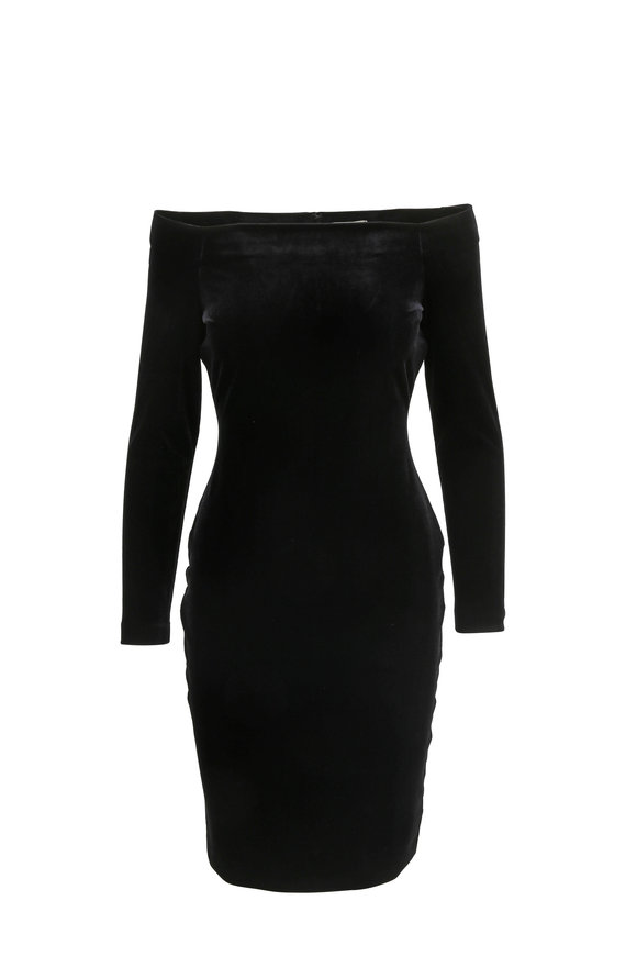 L'Agence Daphne Black Velvet Off-The-Shoulder Dress