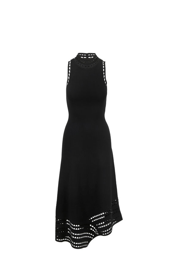 Elizabeth & James Liza Black Laser-Cut Sleeveless Midi Dress