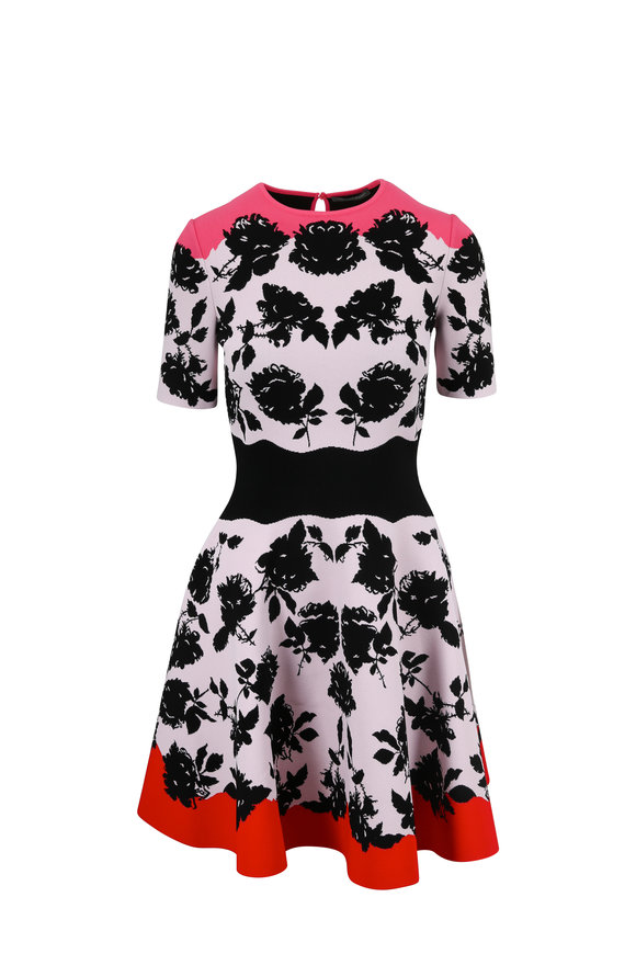 Alexander McQueen Black & Pink Floral Intarsia Knit Dress
