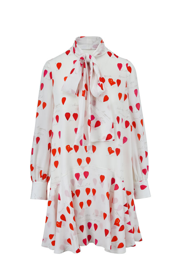Alexander McQueen White & Red Heart Print Scarf Detail Silk Dress