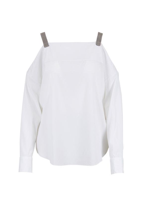 Brunello Cucinelli White Silk Monili Tab Off-The-Shoulder Blouse
