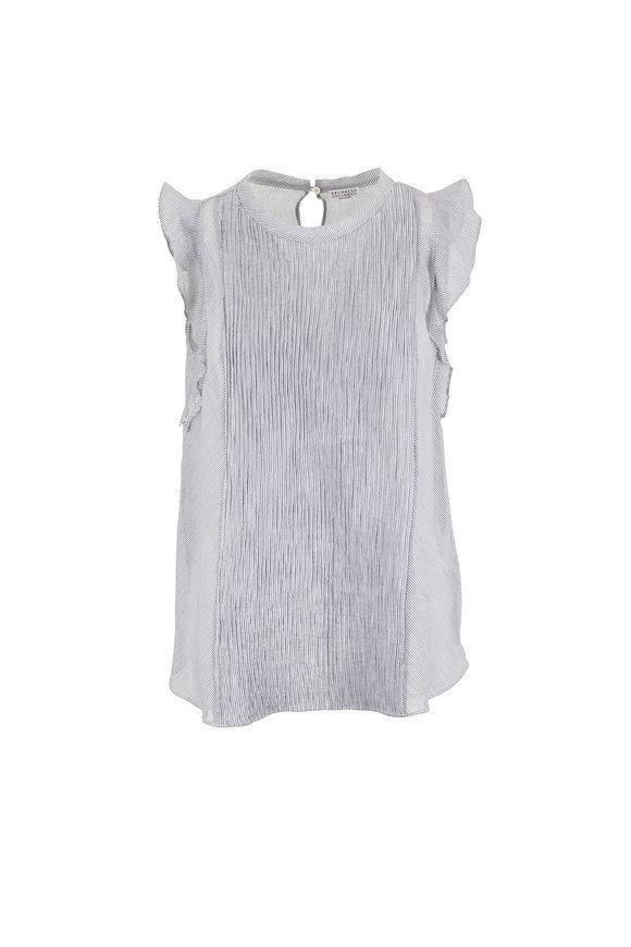 Brunello Cucinelli White & Black Striped Sleeveless Blouse