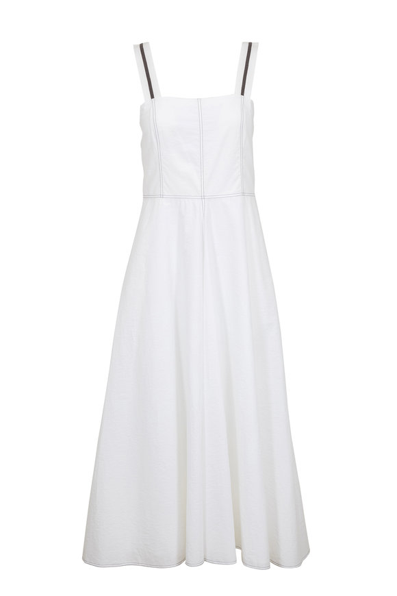 Brunello Cucinelli White Monili Strap Tank Midi Dress