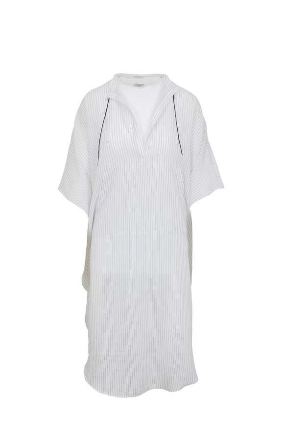 Brunello Cucinelli White Striped Monili Tie & Detachable Tank Tunic