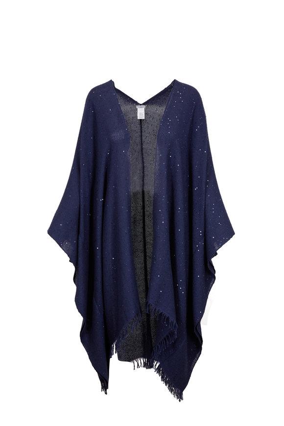 Brunello Cucinelli Deep Blue Cashmere & Silk Pailette Poncho