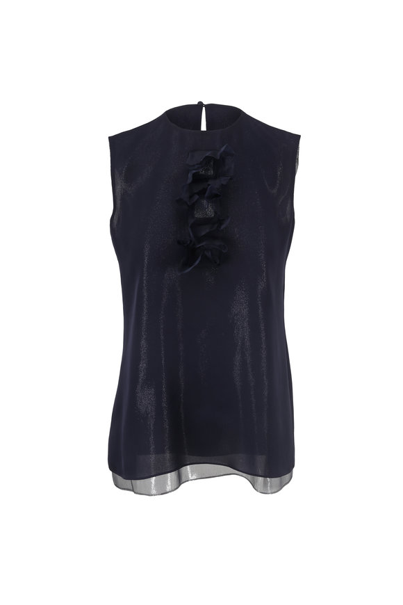 Olivine Gabbro Navy Blue Silk Lurex Sleeveless Blouse