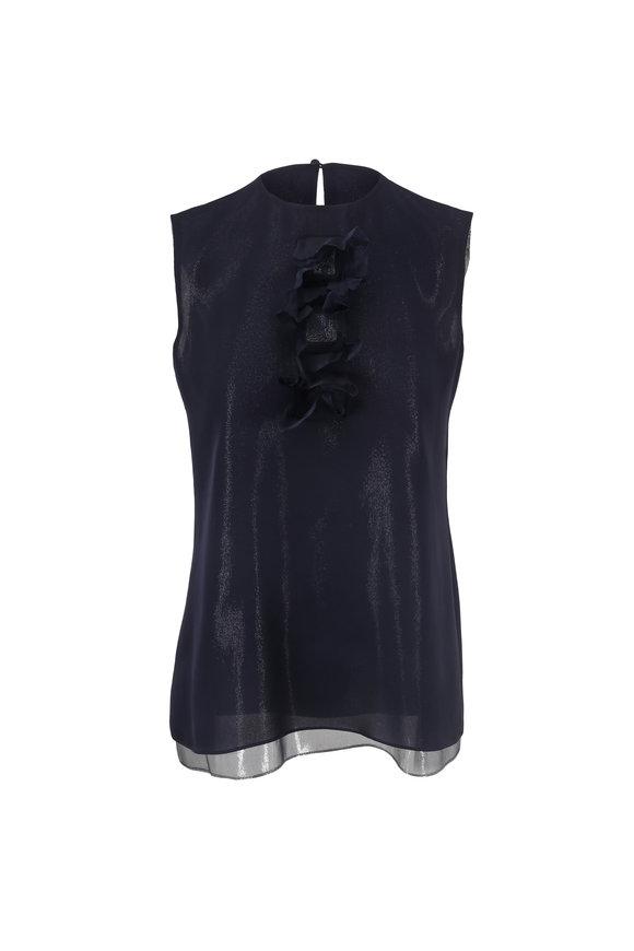 Olivine Gabbro Navy Blue Silk Lurex Sleeveless Blouse