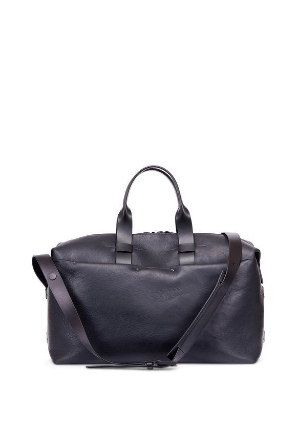 Troubadour Black Leather Weekender Bag
