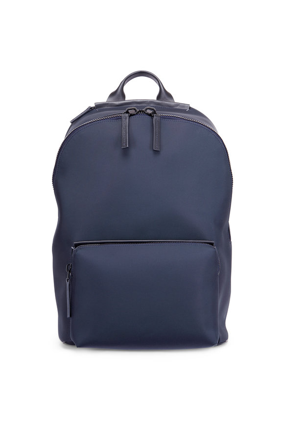 Troubadour Navy Nylon & Leather Weather-Resistant Backpack