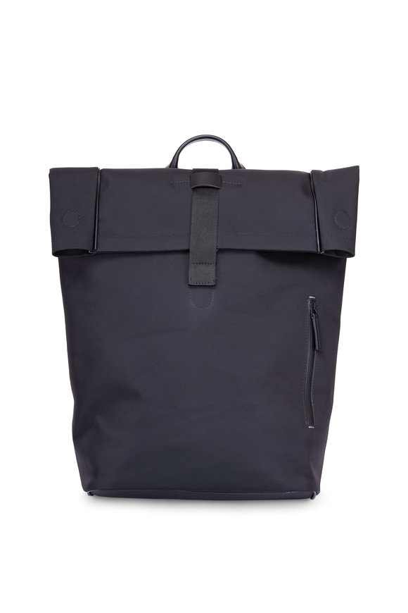 Troubadour Black Nylon & Leather Roll-Top Backpack