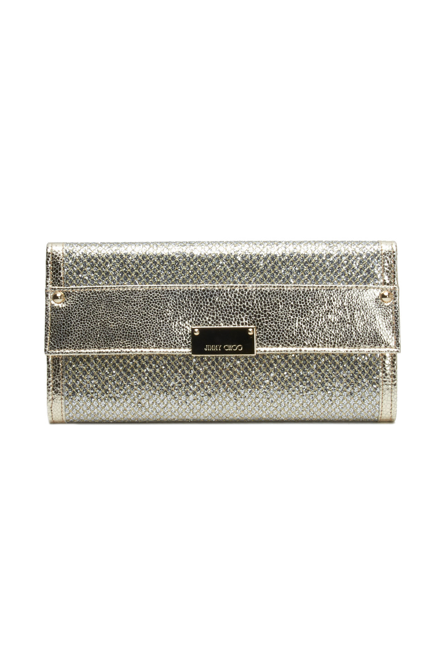 Reese Champagne Glitter Leather Clutch