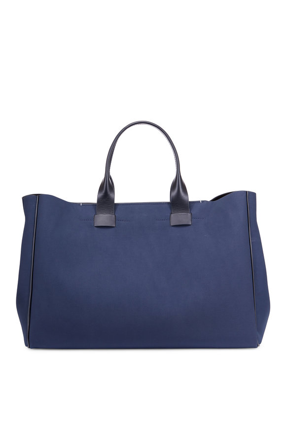 Troubadour Navy Blue Coated Canvas & Leather Bag