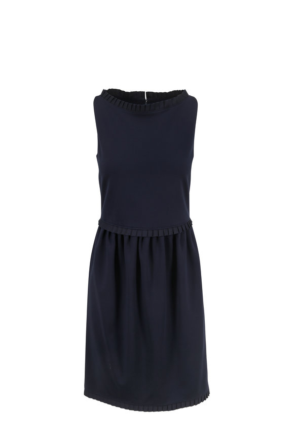 Armani Collezioni Navy Blue Grosgrain Trim Sleeveless Dress