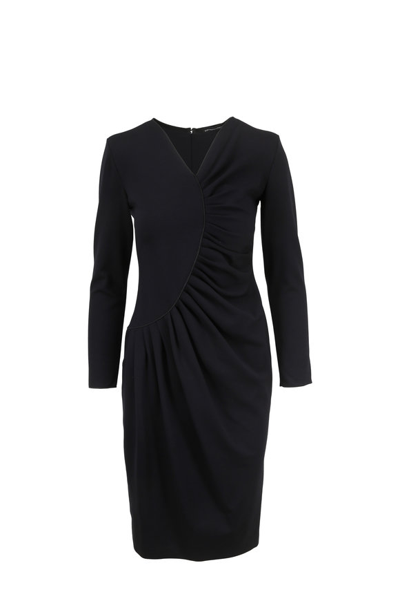 Armani Collezioni Black Long Sleeve Ruched Dress