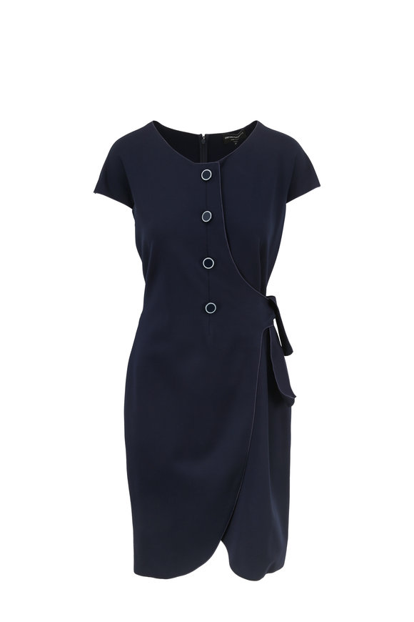 Armani Collezioni Navy Stretch Jersey Short Sleeve Wrap Dress