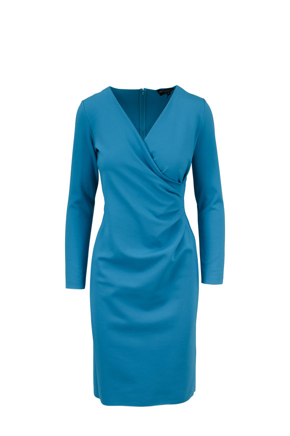 Armani Collezioni Aqua Stretch Jersey Long Sleeve Ruched Dress