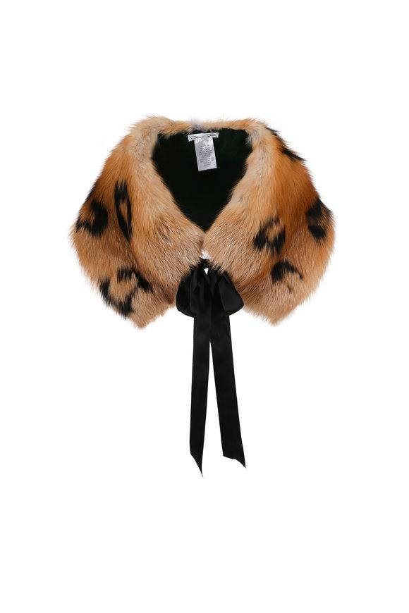 Oscar de la Renta Furs Red Fox & Black Silver Fox Leopard Intarsia Stole