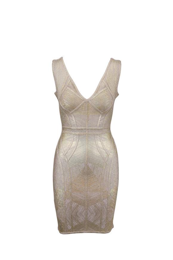 Herve Leger Zinnia Glimmering Gold Bandage Dress