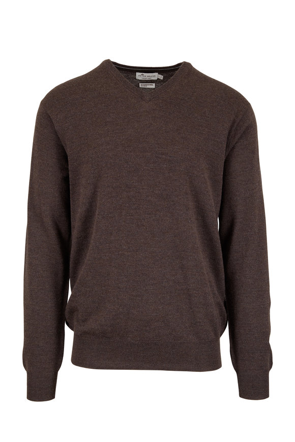 Peter Millar Brown Merino Wool & Silk V-Neck Sweater