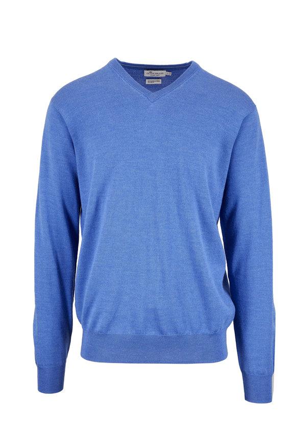 Peter Millar Parisian Blue Merino Wool & Silk V-Neck Sweater