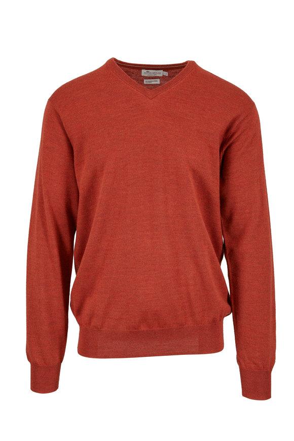 Peter Millar Rust Merino Wool & Silk V-Neck Sweater